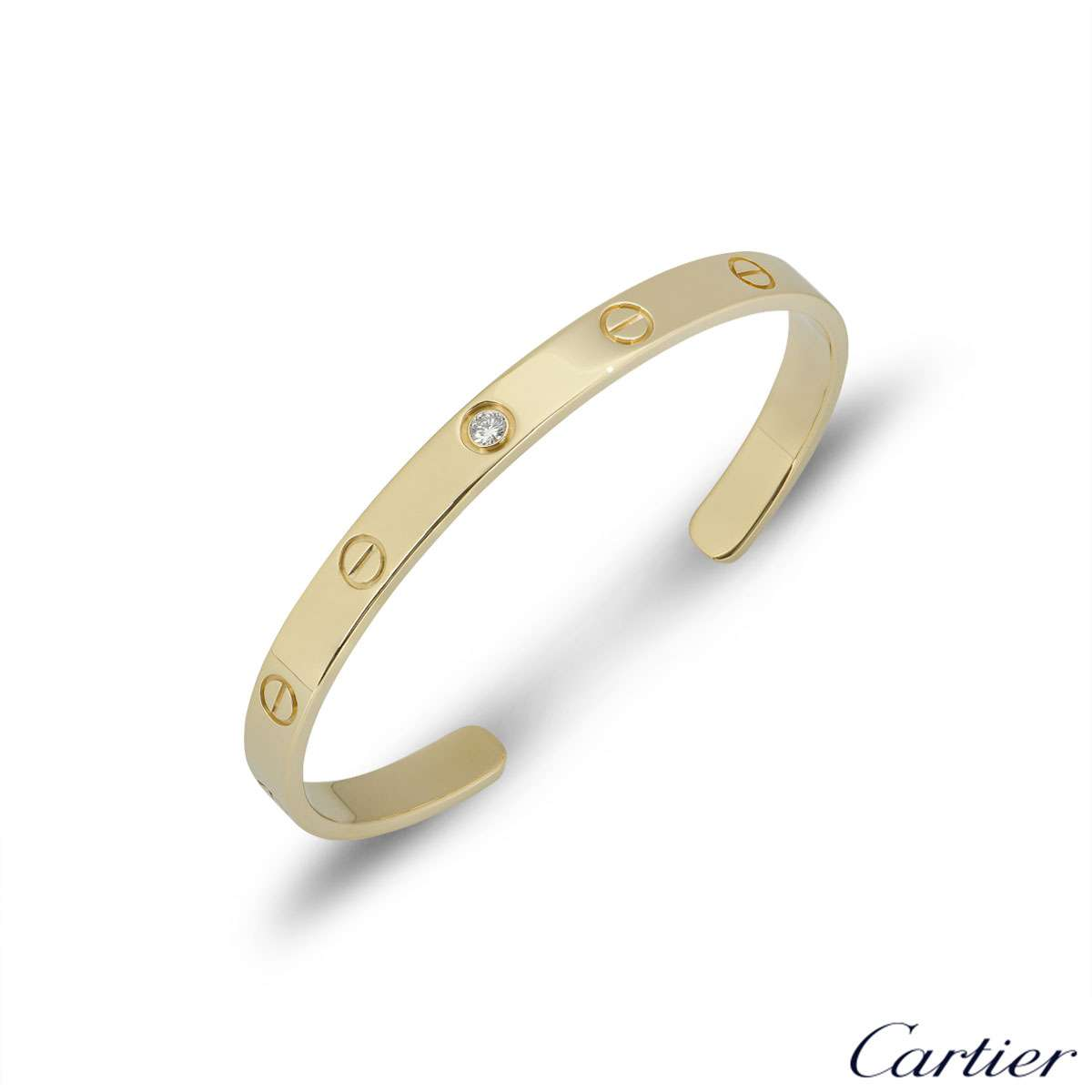 Cartier Yellow Gold Diamond Love Cuff Bracelet Size 18 B6029818